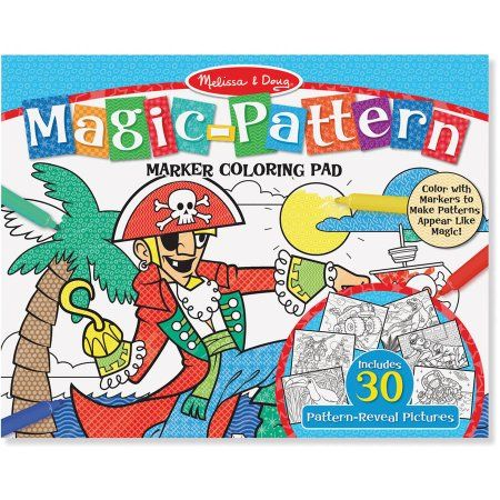 Melissa & Doug Magic-Pattern Marker Kids' Coloring Pad - Pirates, Sports, Castles, and More, Multicolor