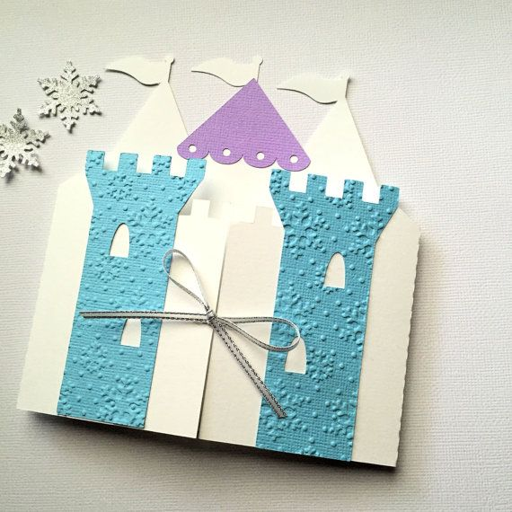 Ice Queen Princess Castle Invitation folders in blue and white. Embossed snowflake detail, Frozen Party decorations. by MyPaperPlanet