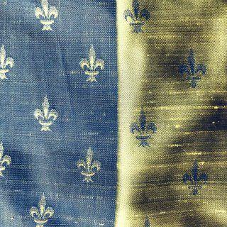 Fleur de Lis Silk Fabric – #19 Steel-Yellow