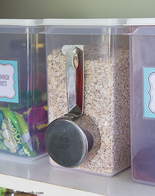 Command Hooks on the Outside of Your Containers : great way to keep often used measuring cups together with food.