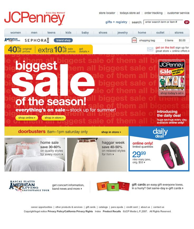 Biggest Sale of the Season 2009 Home Page Design