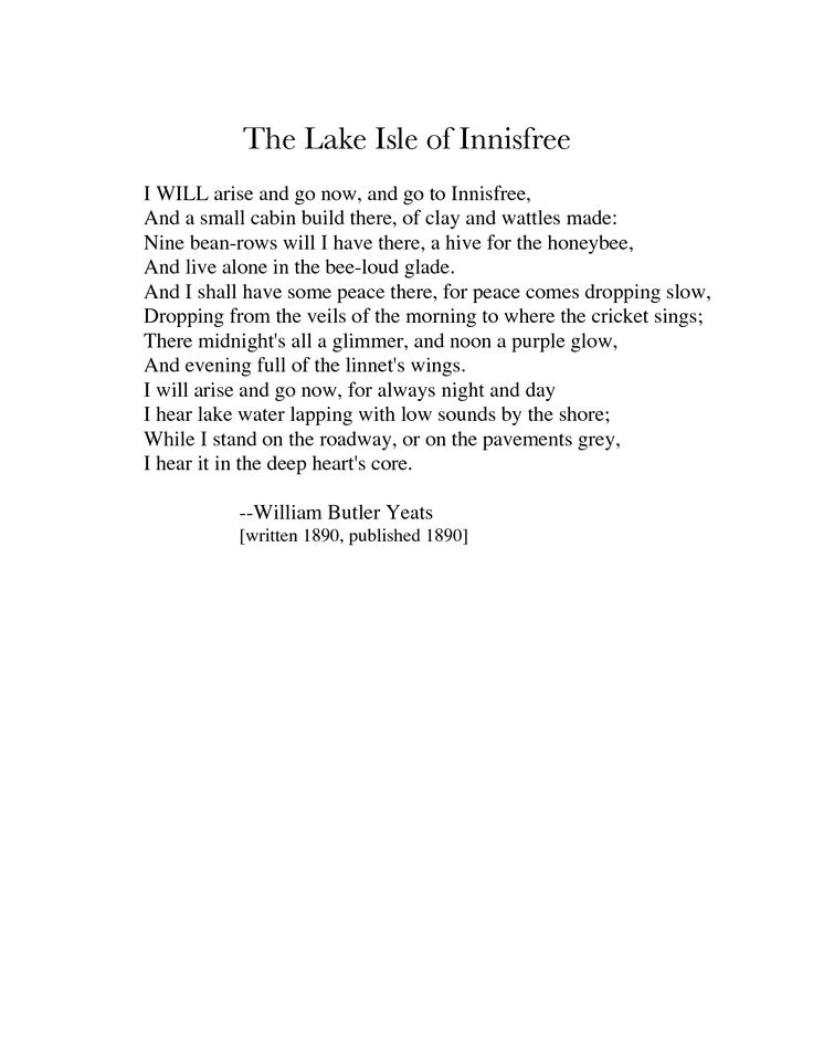 The Lake Isle of Innisfree : William Butler Yeats.  http://annabelchaffer.com/