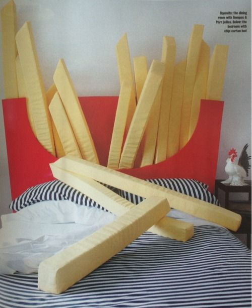 omg. french fry headboard the french fry pillows!