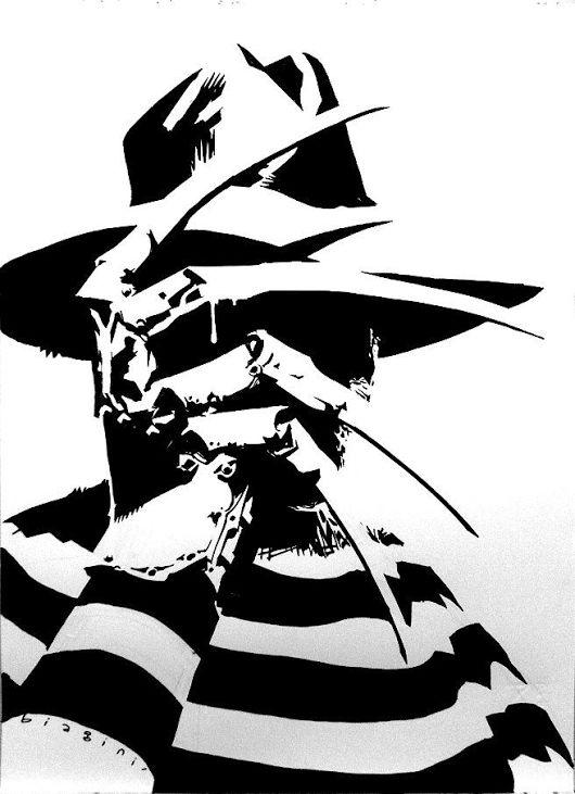 Black and white Freddy Krueger