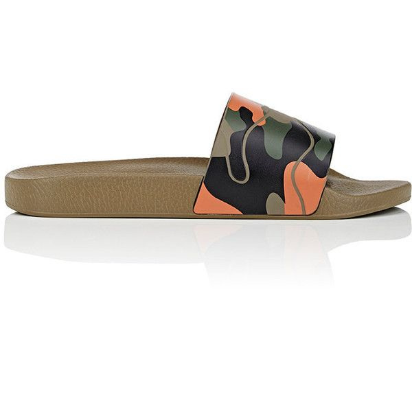 Valentino Men's Camouflage PVC Slide Sandals ($275) ❤ liked on Polyvore featuring men's fashion, men's shoes, men's sandals, mens camo shoes, valentino mens shoes, mens sandals, mens shoes and mens open toe shoes
