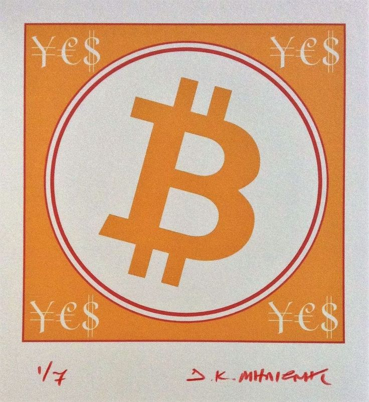 """""""BIT COIN ¥€$""""  Signed 1/7 Limited Edition Giclee Pigment Print 2017 Cryptoart c #PopArt"""