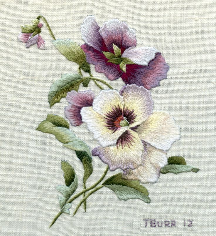 embroidered pansies - Google Search