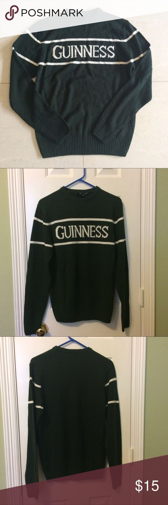 ☘️GUINNESS SWEATER☘️ Guinness forest-green sweater from the Guinness Factory in Dublin!!! ☘️☘️☘️ Men's sweater size XS but can be unisex. It's so warm!!! Sweaters Crewneck