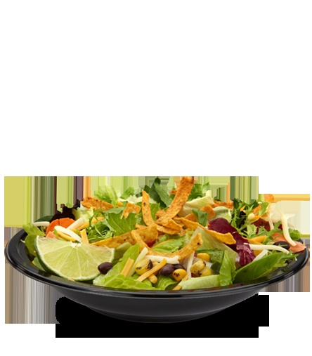 McDonald's Southwest Salad.  Use low-fat salad dressing and ask for grilled chicken for about 400 calories.