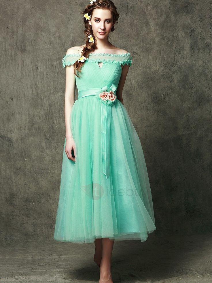 Tidebuy.com bietet hohe Qualitäthohe Qualität off- die-Schulter- Tee-Länge Blumen -Brautjungfer KleidWir haben mehr Arten fürNeueste Mode Brautjungfernkleider