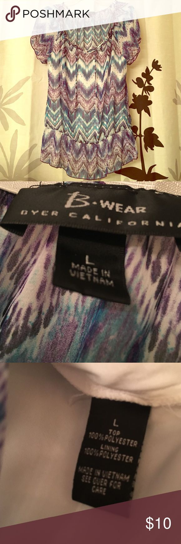 Breezy blouse with built in cami Purple and turquoise pattern. Very cute! Byer California Shirts & Tops Blouses