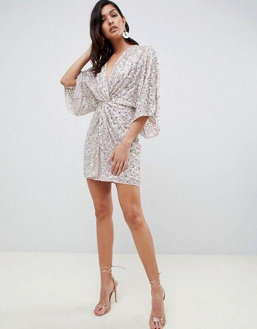 2e862b1ad966d ASOS DESIGN | ASOS DESIGN scatter sequin knot front kimono mini dress
