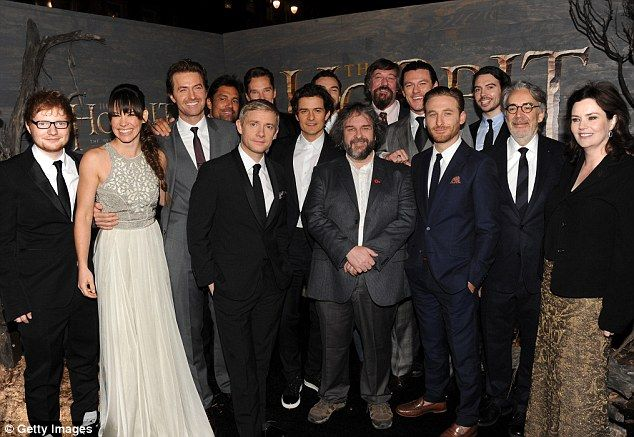Hobbit Clan - In the line-up: (l to r)Ed Sheeran, Evangeline Lilly, Richard Armitage, Martin Freeman; Orlando Bloom, Peter Jackson, Stephen Fry, Luke Evan...