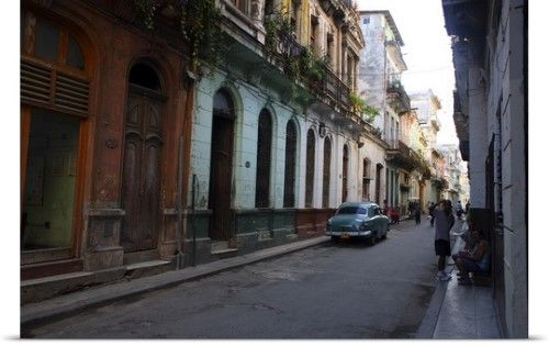Poster Print Wall Art Print entitled Streetscape, Old Havana, Havana, Cuba, Greater Antilles, None