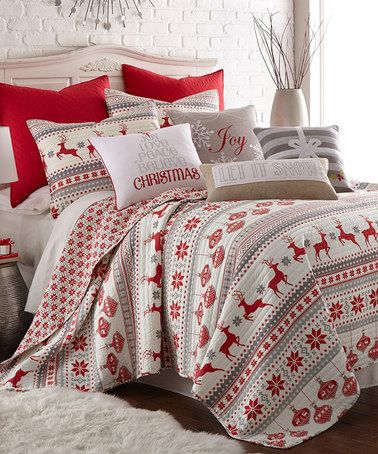 In my dream world, I would completely decorate our bedrooms for Christmas each year. Love this bedding. <3 #zulily