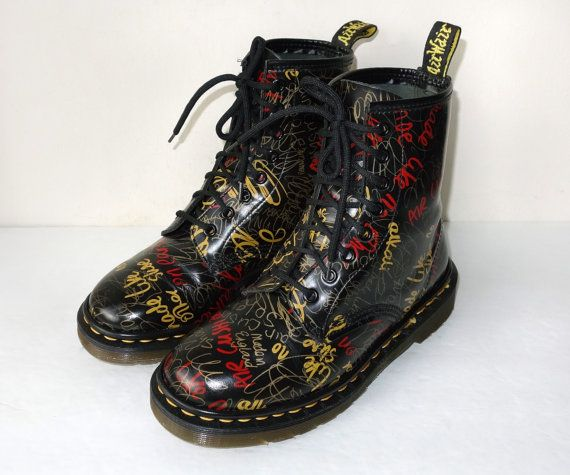 Items similar to Vintage Mint Made in England Dr Martens 1640 Color  Graffiti Print Black Lace Up Leather Combat Boots, Size UK 4 US Military  Short Ankle on ...