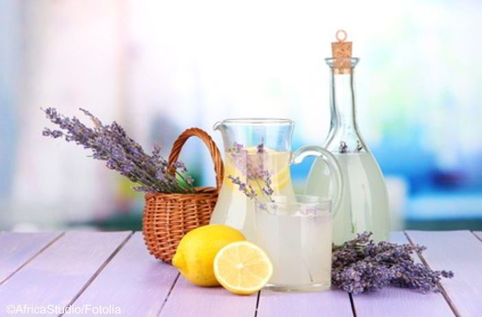 Das in der Lavendel-Limo enthaltene ätherische Öl wirkt u.a. antiseptisch, krampflösend, harntreibend, hilft gegen Kopfschmerzen und Angststörungen!