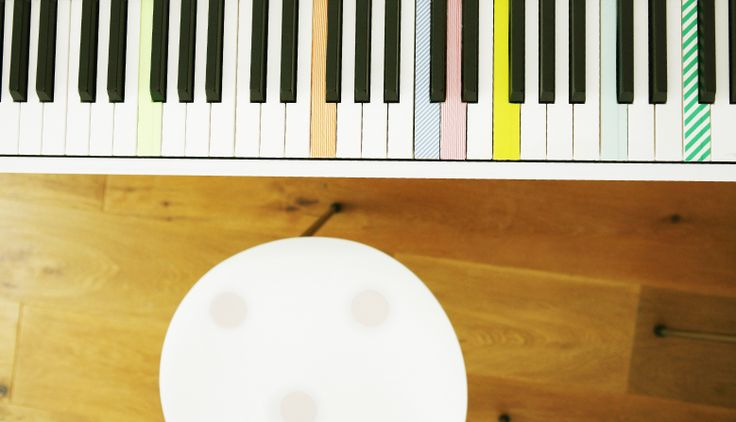 washi tape on piano keys. cute and a great learning aid during piano lessons!