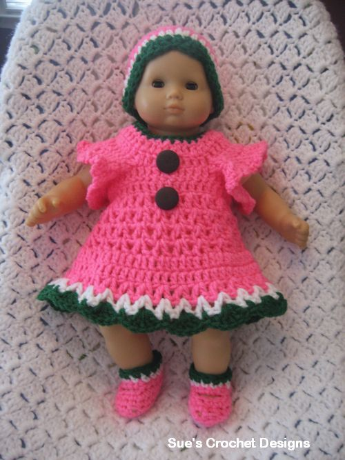 Crochet Pattern Baby Doll Clothes : Crochet Baby Dress BITTY BABY DOLL CLOTHES ...