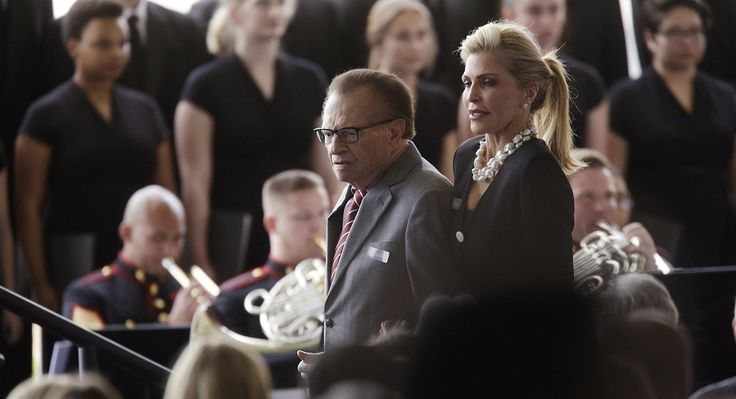 Larry King and his wife, Shawn King, arrive for the funeral service.   (Getty)