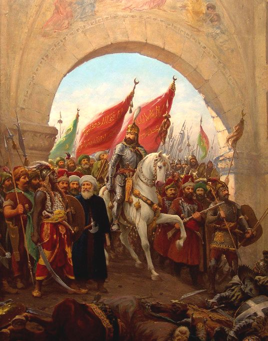"Sultan Mehmed II's entry into Constantinople. Byzantium is a term used by modern historians to refer to the later Roman Empire. In its time, the empire ruled from Constantinople (or ""New Rome"" as Constantine had officially named it) was considered simply ""the Roman Empire."" In Mehmed's view, he was the successor to the Roman Emperor, declaring himself Kayser-i Rum, literally ""Caesar of Rome"" that is, of the Roman Empire."