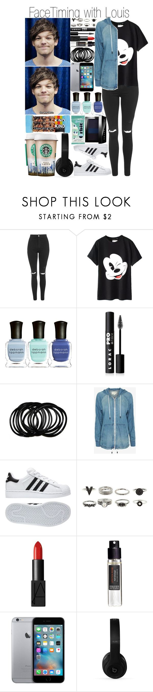 """Facetiming with Louis"" by fashion-onedirection ❤ liked on Polyvore featuring Topshop, Deborah Lippmann, LORAC, rag & bone, adidas, NARS Cosmetics, Frédéric Malle, Beats by Dr. Dre, Bobbi Brown Cosmetics and louis"