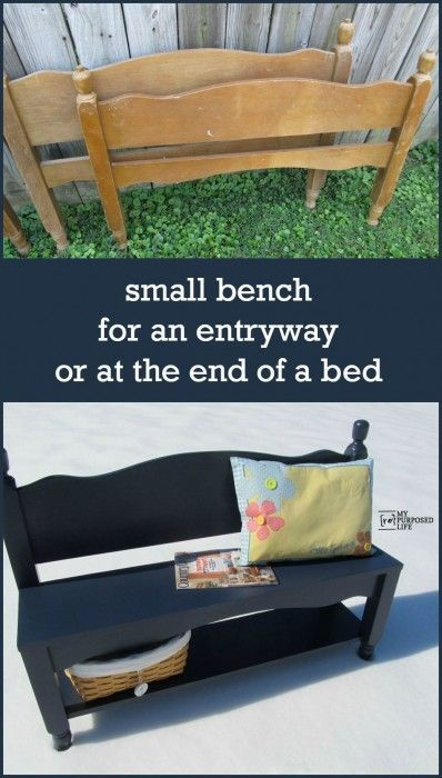 How to make a sweet entry way bench (also great for the end of the bed) out of an old bunk bed. Step by step directions so you can make one too!