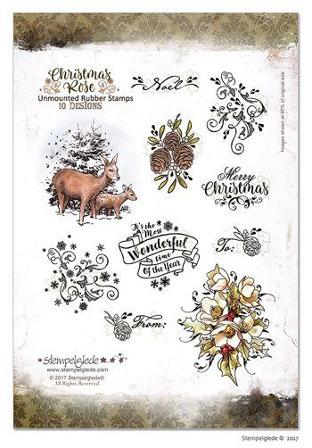 © Stempelglede® Christmas Rose Unmounted Rubber Stamp Sheet. http://http://www.stempelglede.com/stemplerchristmasrose_en.html