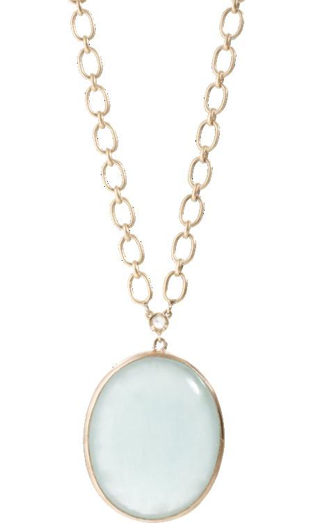 Irene Neuwirth Aquamarine Oval Pendant Necklace