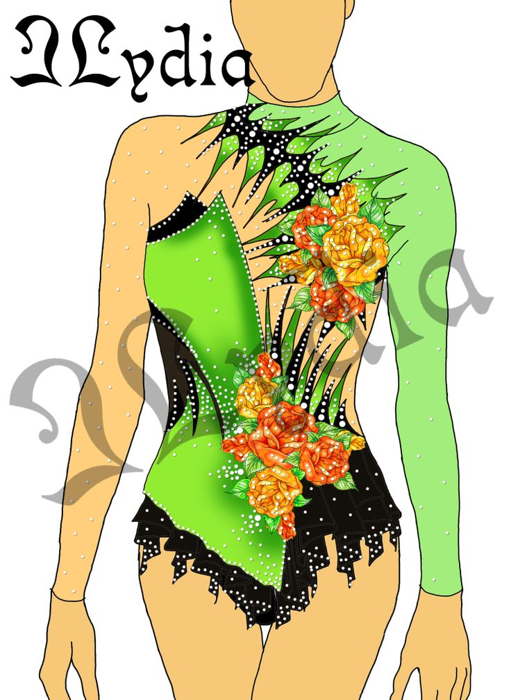 Competition Rhythmic gymnastic leotards Design Rose garden