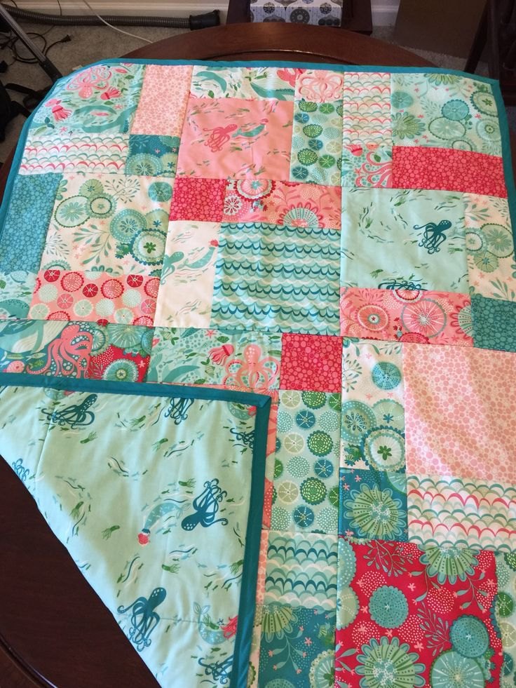 Mermaid quilt small throw.