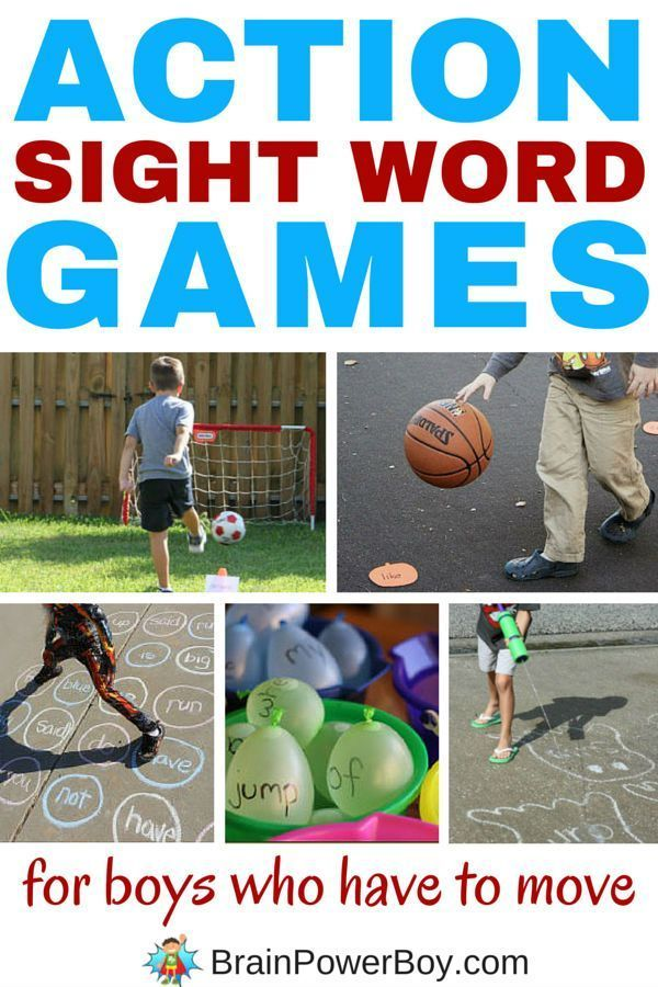 Awesome sight word games for boys who are always on the move! These action sight word games are just right for bodily-kinesthetic learners and boys who don't like to sit still. They can learn to read in a way that works best for them. Click the picture to see 9 fun games.