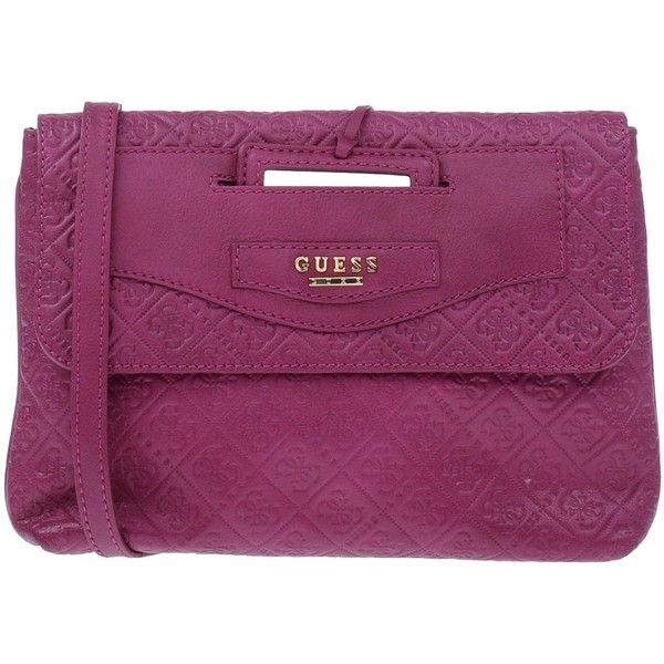 Guess Cross-body Bag ($150) ❤ liked on Polyvore featuring bags, handbags, shoulder bags, garnet, leather crossbody purse, leather purse, guess purses, purple shoulder bag and purple leather purse