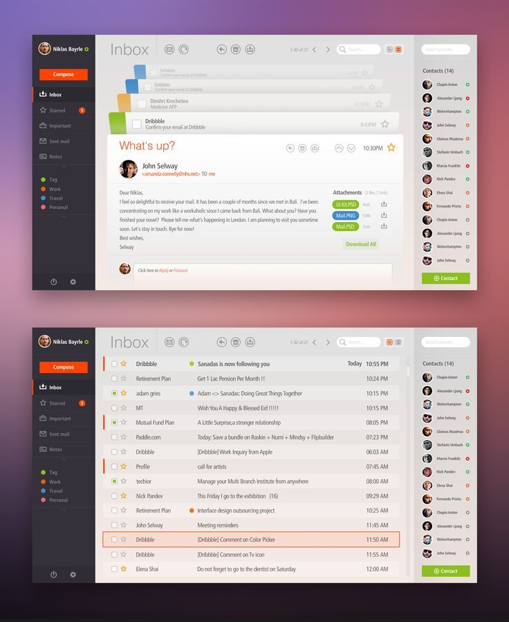 Cool UI Designs Football, Email client and Tags