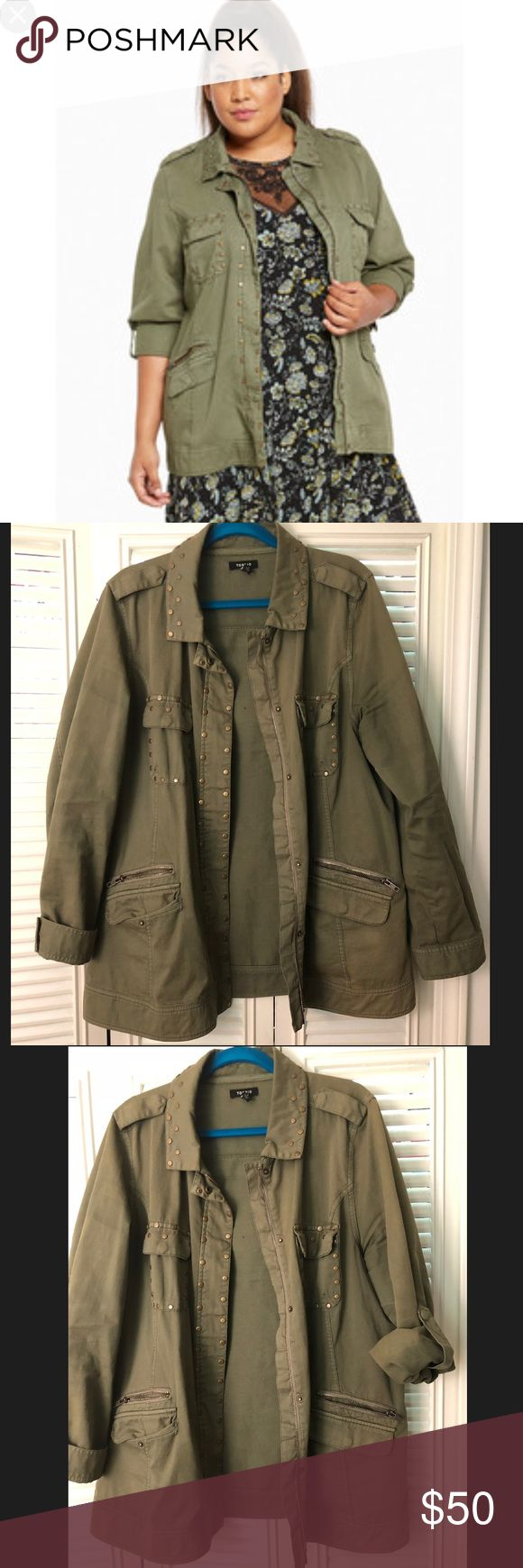Studded military jacket. Cute army green military jacket! Torrid size 1. torrid Jackets & Coats