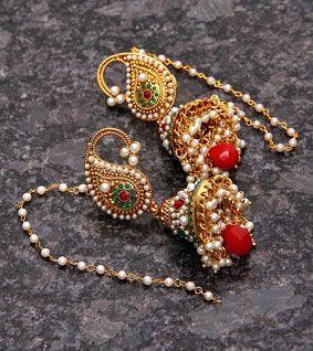 Golden,Red & Green Embellished Earrings
