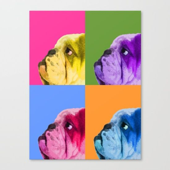 "Bulldog art. English bulldog poster. Pop art dog portrait. Modern pop art poster. Bully lover. My bulldog. Fine art print on bright white, fine poly-cotton blend, matte canvas using latest generation Epson archival inks. Individually trimmed and hand stretched museum wrap over 1-1/2"" deep wood stretcher bars. Includes wall hanging hardware."