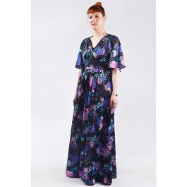 Lange vintage jaren 70 jurk met bloemenprint