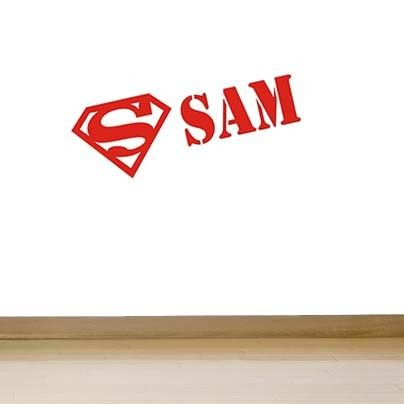 Babykamer of kinderkamer Muursticker Superman + naam