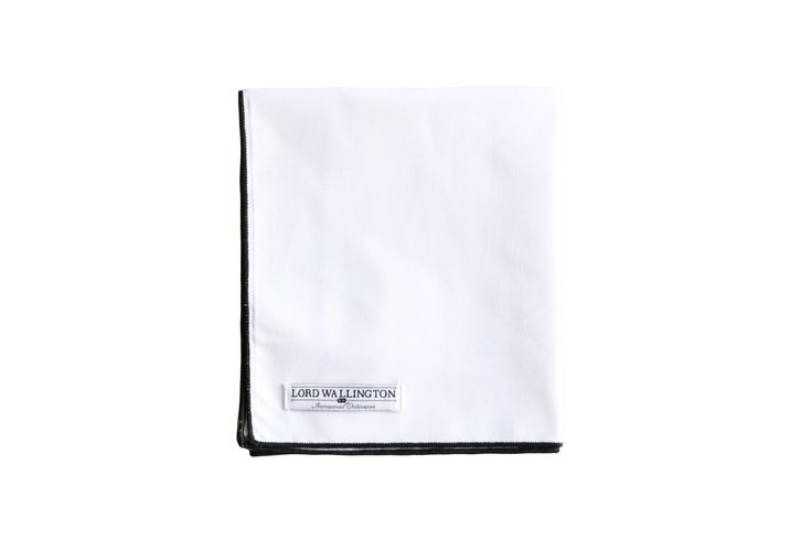 White Pocket Square, Black Tipped