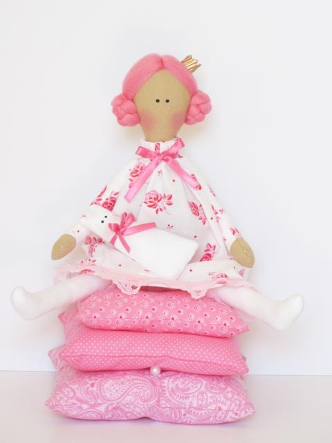 Cloth doll Princess and the Pea pink fabric by HappyDollsByLesya, $42.00