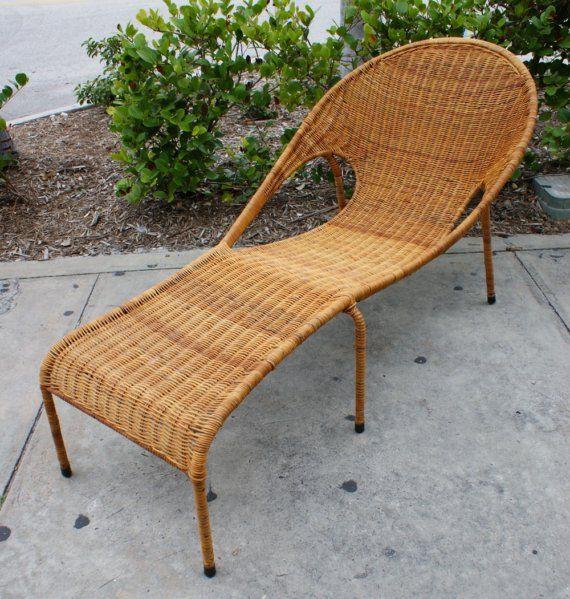 Vintage Mid Century Modern Rattan Woven Iron Patio Lounge Chair