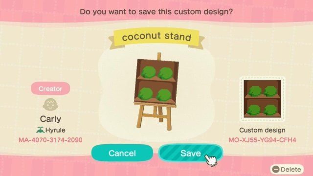 Coconut Stand Shelves Designed By Carly Of Hyrule Acnh Custom Designs In 2020 Custom Design Custom Stall Designs