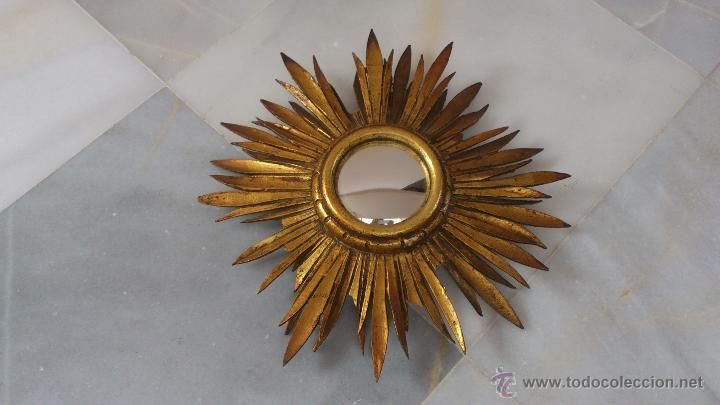 Pequeño espejo sol de madera convexo para restaurar, diámetro total 35 cm, 35 €