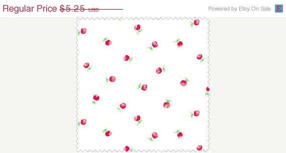 ON SALE Pam Kitty Garden  Pink Apples by OakHillFabrics on Etsy