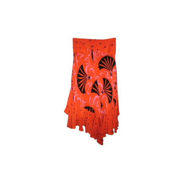 Pre-owned Silk long skirt ($110) ❤ liked on Polyvore featuring skirts, orange, orange maxi skirt, long silk skirt, long skirts, red maxi skirt and floor length skirts