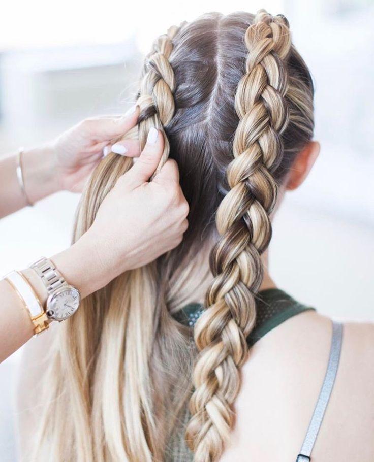 Nova moda!! e fica lindo no cabelo experimentem | Cabelos, cortes e penteados de 2019 | Penteados, Penteados com trança e Trança dupla