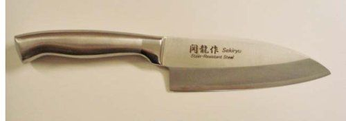 Sekiryu Stainless Steel Japanese Deba Knife #SS300 by Seki Ryu. $34.95. Deba knife has a single beveled blade for right handed use. Made in Japan. Use this thick bladed knife for fish, specialty slicing. Single piece is sleek, easy to keep clean. Single piece stainless steel knife. Deba knife style for cleaning and deboning fish. Thick blade works well to chop through fish bones or tough cuts of meat!   Stain resistant steel for easy care. This Deba is single beveled fo...
