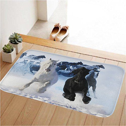 ToLuLu Small Doormat Low Profile Door Mat Door Indoor/Bedroom/Front Door/Bathroom/Kichten etc Mats,23.6 x 15.7 inches,Anti-slip,Lock water,enviroment,Black&White Horse: Amazon.co.uk: Kitchen & Home