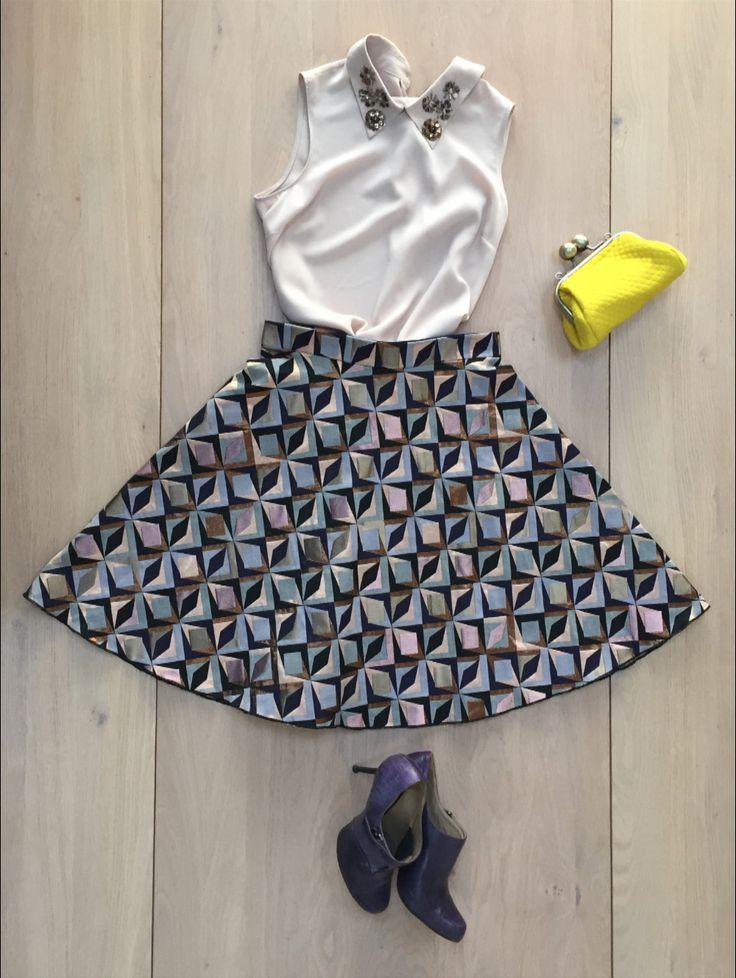 LIMITED EDITION. Half circle skirt, geometric print di Fedracollection su Etsy